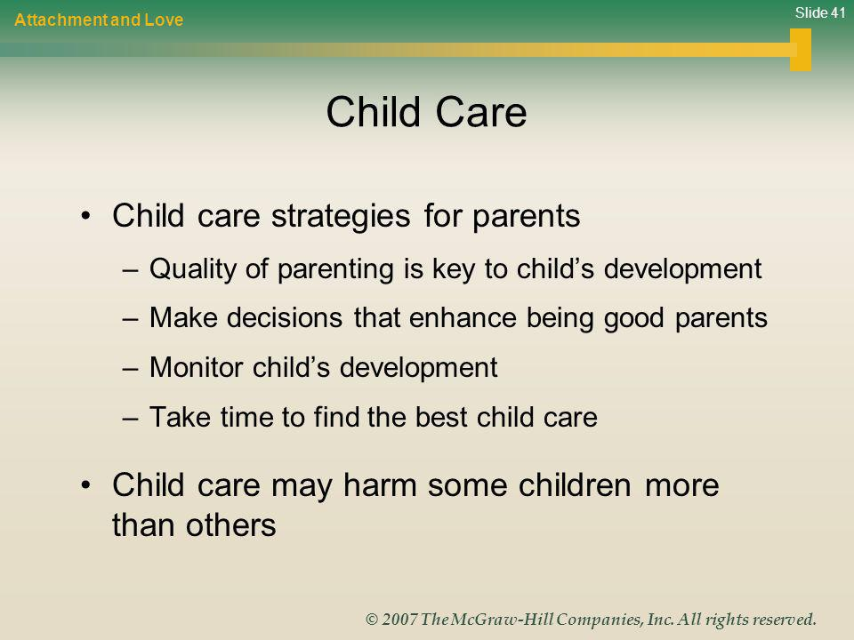 Child Care Child care strategies for parents