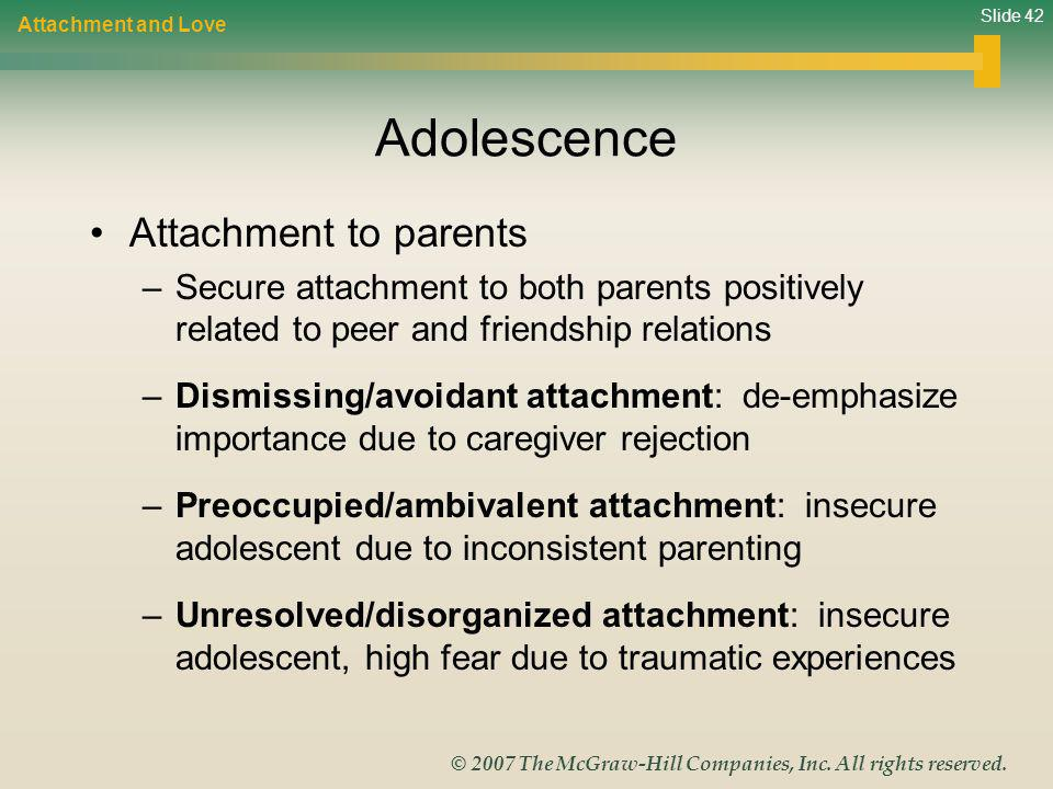 Adolescence Attachment to parents