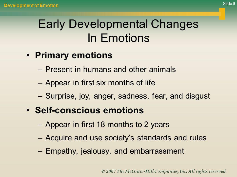 Early Developmental Changes In Emotions