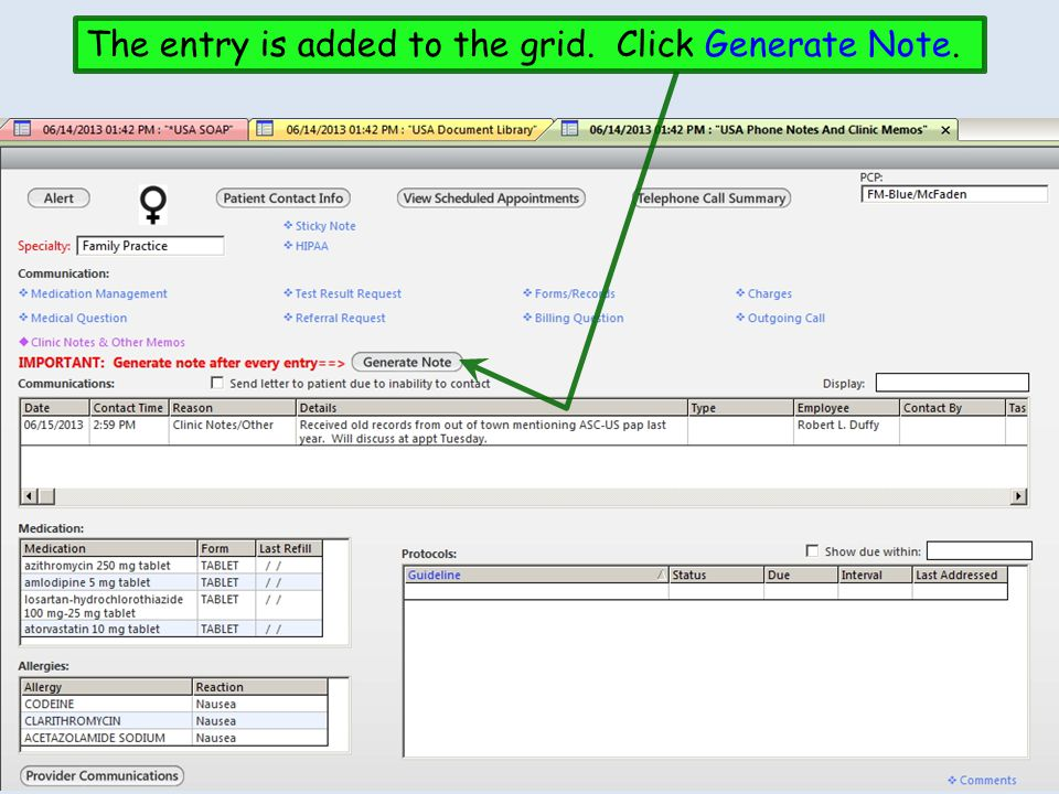 The entry is added to the grid. Click Generate Note.