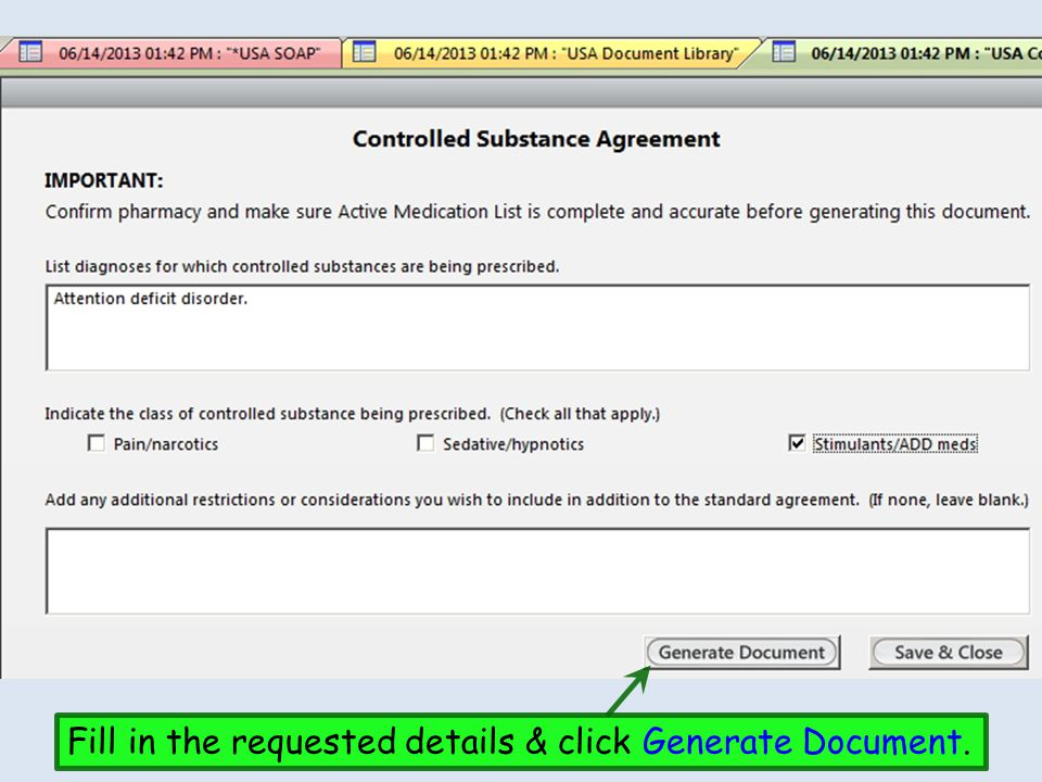 Fill in the requested details & click Generate Document.