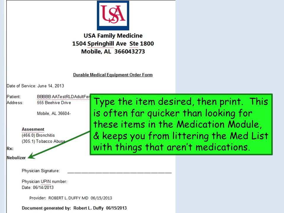 Type the item desired, then print