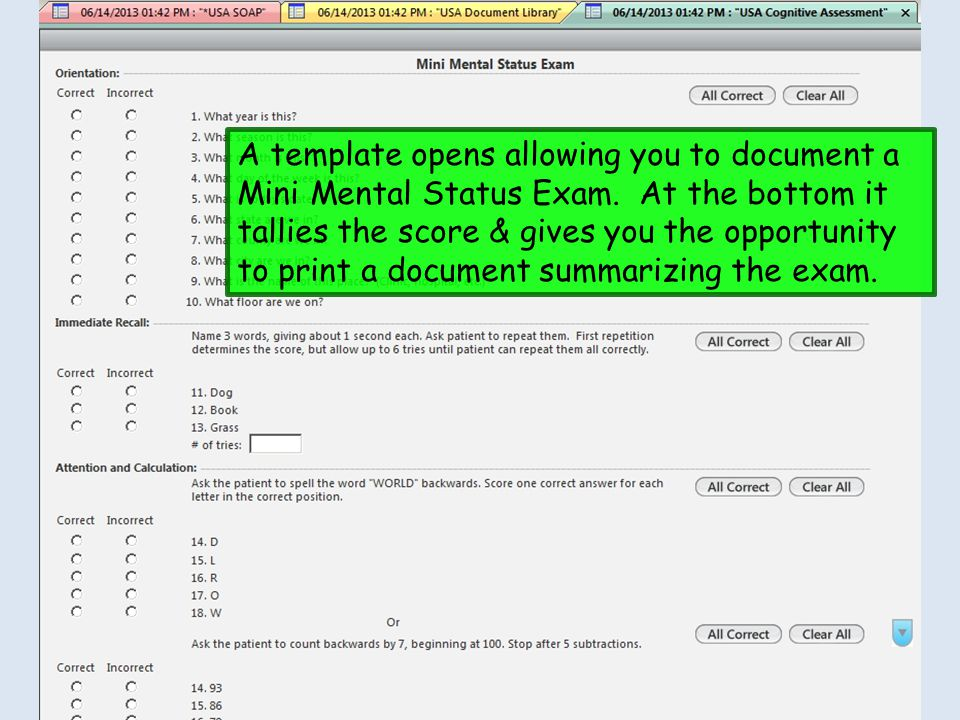 A template opens allowing you to document a Mini Mental Status Exam