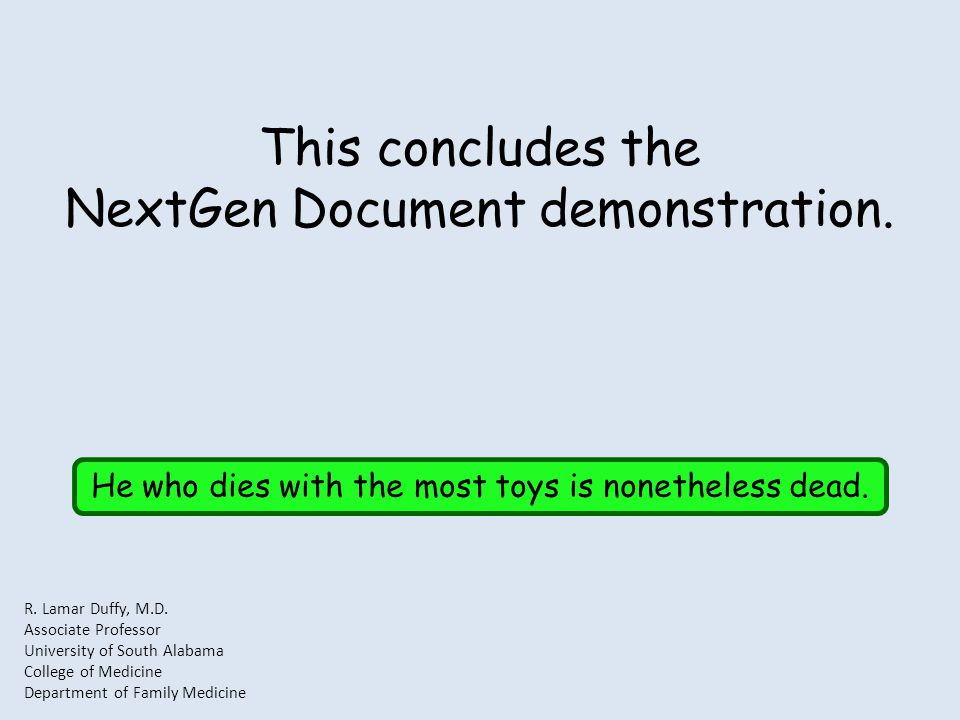 This concludes the NextGen Document demonstration.