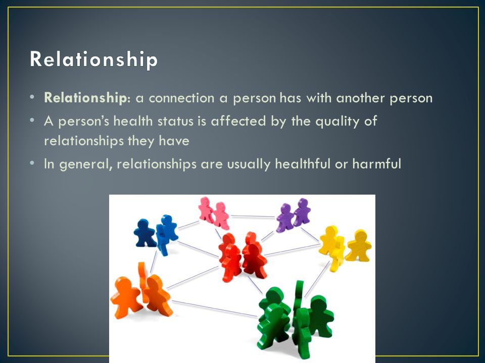 Relationship Relationship: a connection a person has with another person.