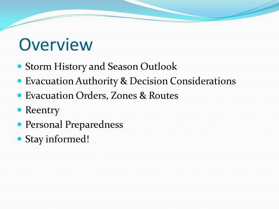 Overview Storm History and Season Outlook
