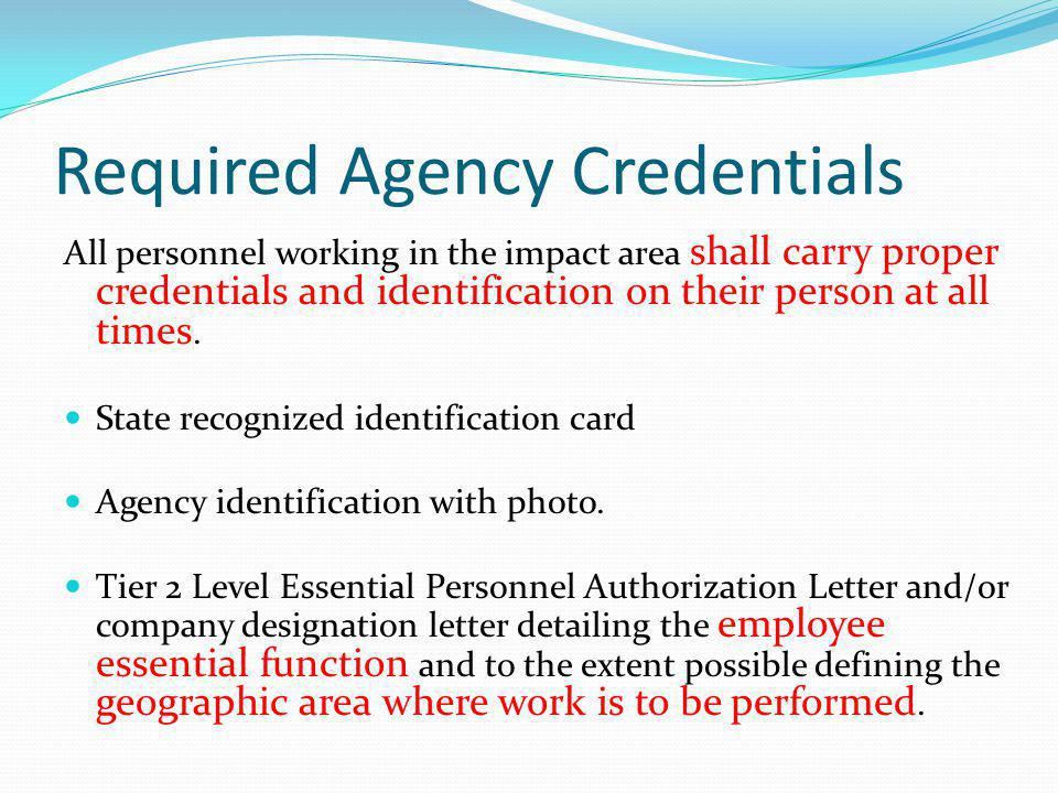 Required Agency Credentials