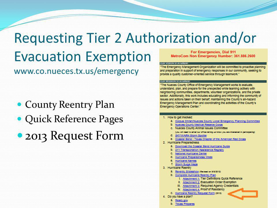 Requesting Tier 2 Authorization and/or Evacuation Exemption www. co