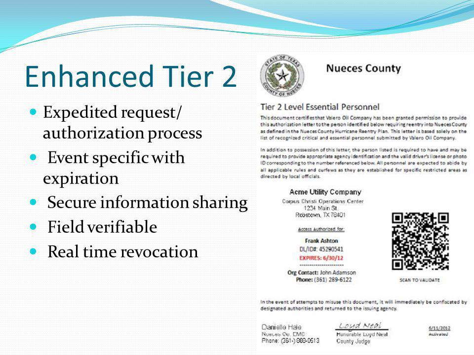 Enhanced Tier 2 Expedited request/ authorization process
