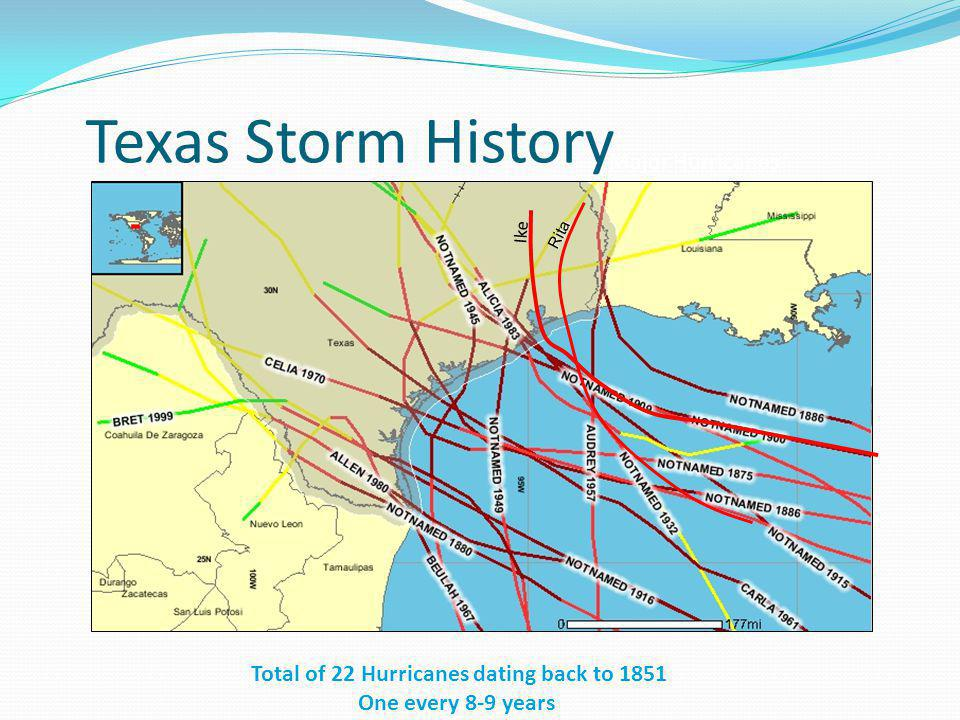 Total of 22 Hurricanes dating back to 1851