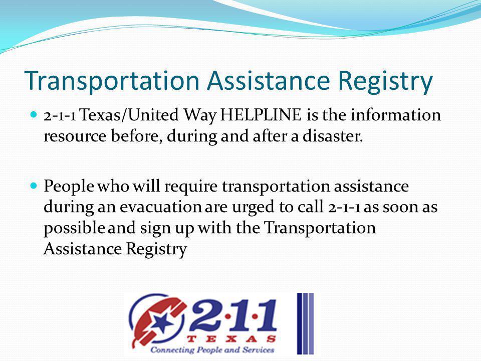Transportation Assistance Registry