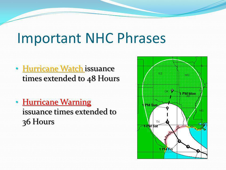Important NHC Phrases Hurricane Watch issuance times extended to 48 Hours.