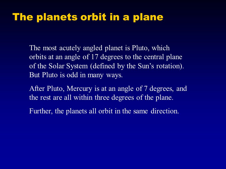 The planets orbit in a plane