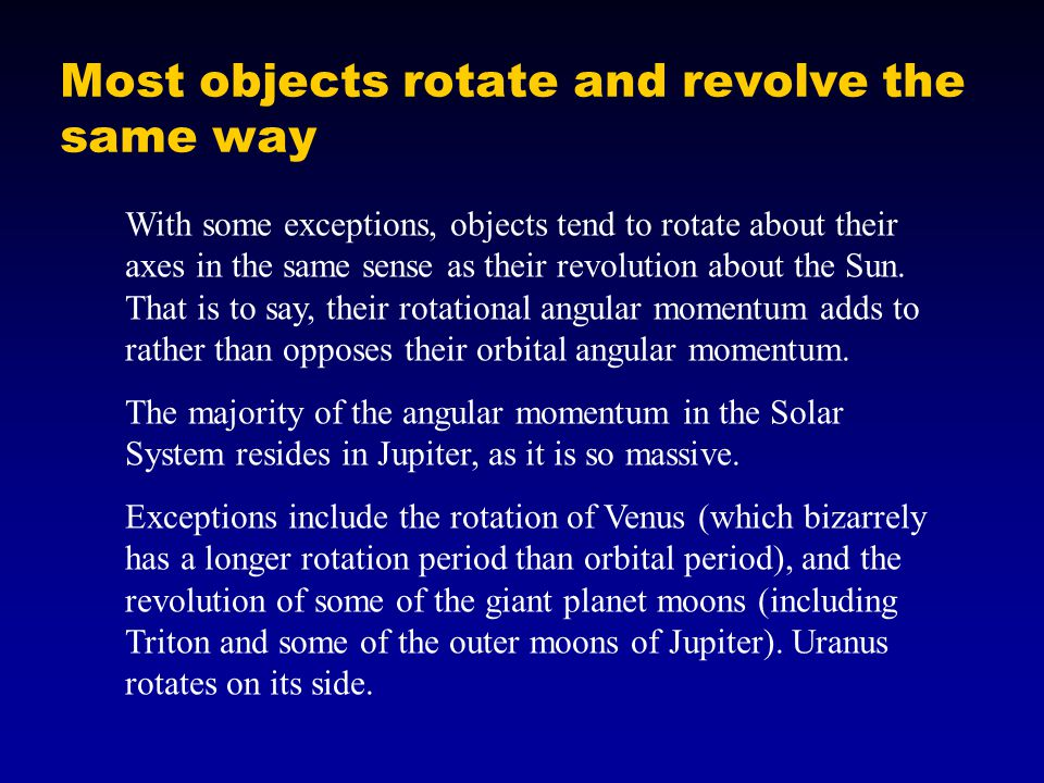Most objects rotate and revolve the same way