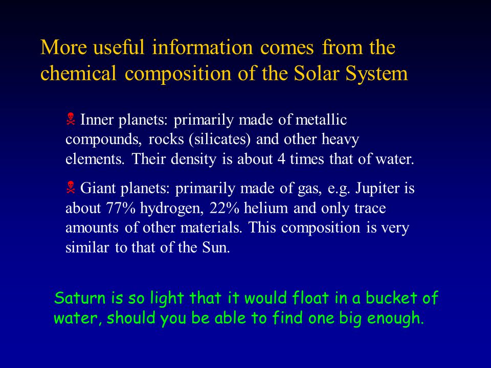 More useful information comes from the chemical composition of the Solar System