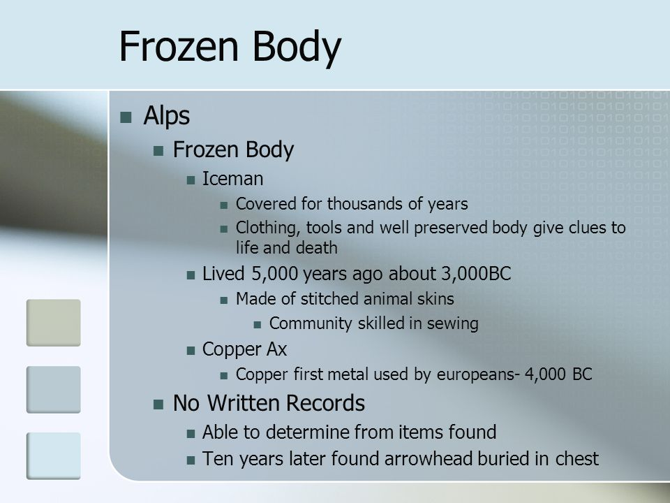 Frozen Body Alps Frozen Body No Written Records Iceman