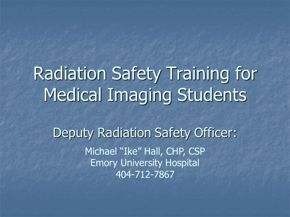 Radiation Safety Training for Medical Imaging Students