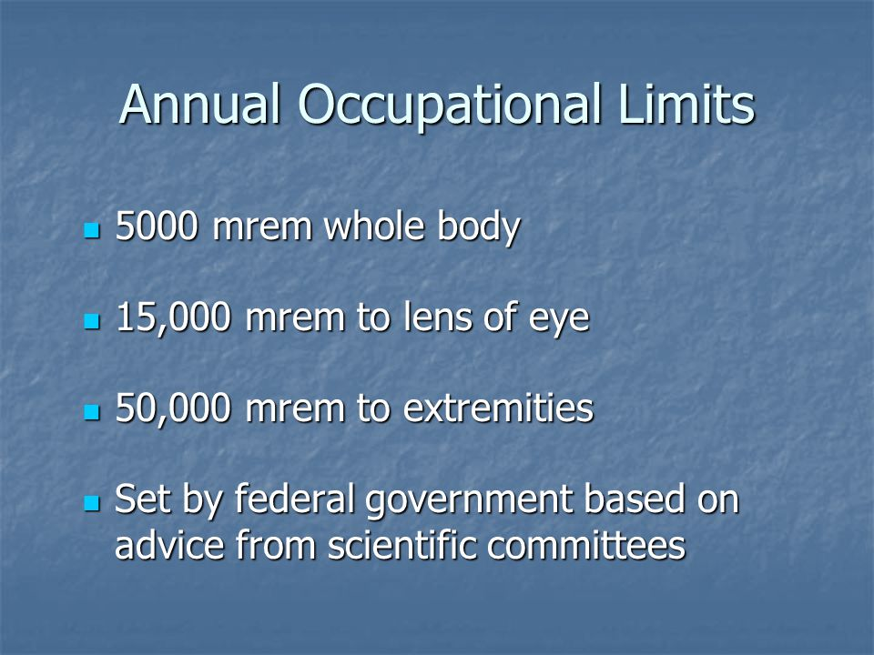 Annual Occupational Limits