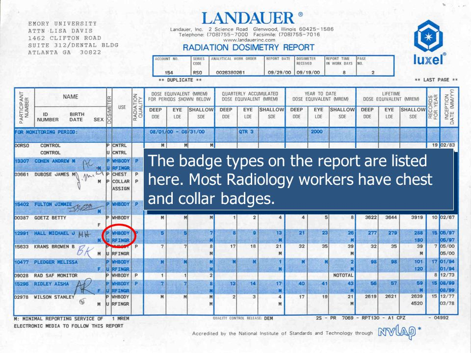 The badge types on the report are listed here