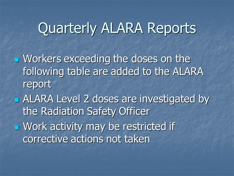 Quarterly ALARA Reports