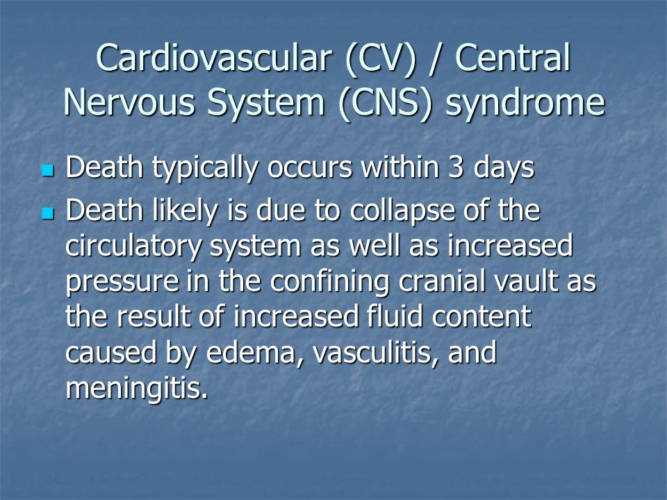 Cardiovascular (CV) / Central Nervous System (CNS) syndrome