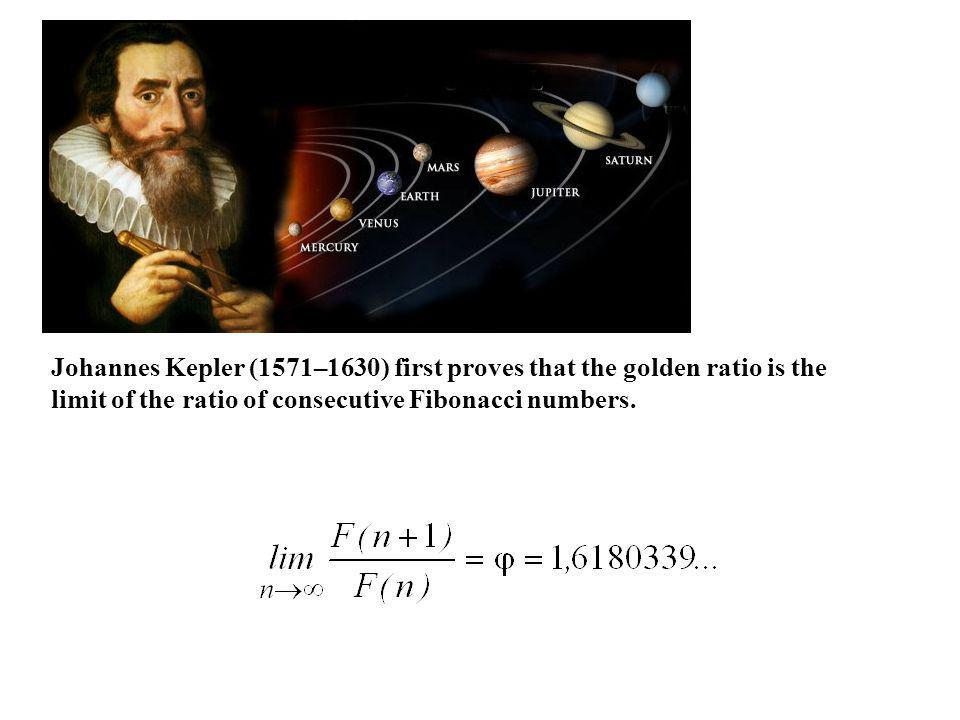 Johannes Kepler (1571–1630) first proves that the golden ratio is the limit of the ratio of consecutive Fibonacci numbers.