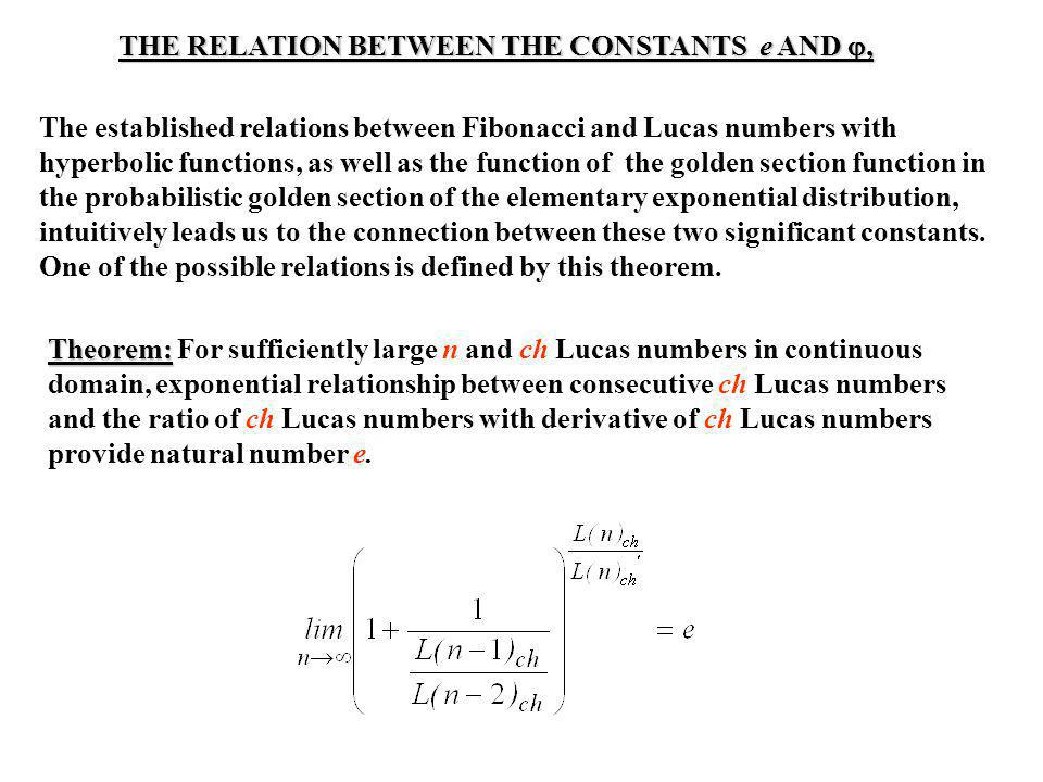 THE RELATION BETWEEN THE CONSTANTS e AND ,