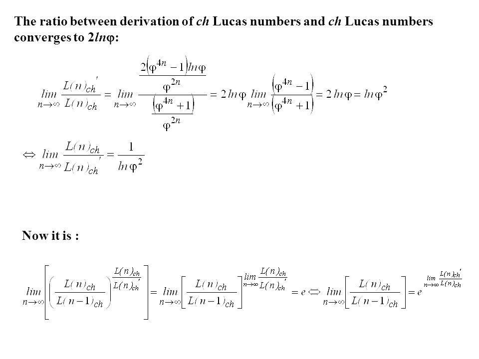 The ratio between derivation of ch Lucas numbers and ch Lucas numbers converges to 2ln: