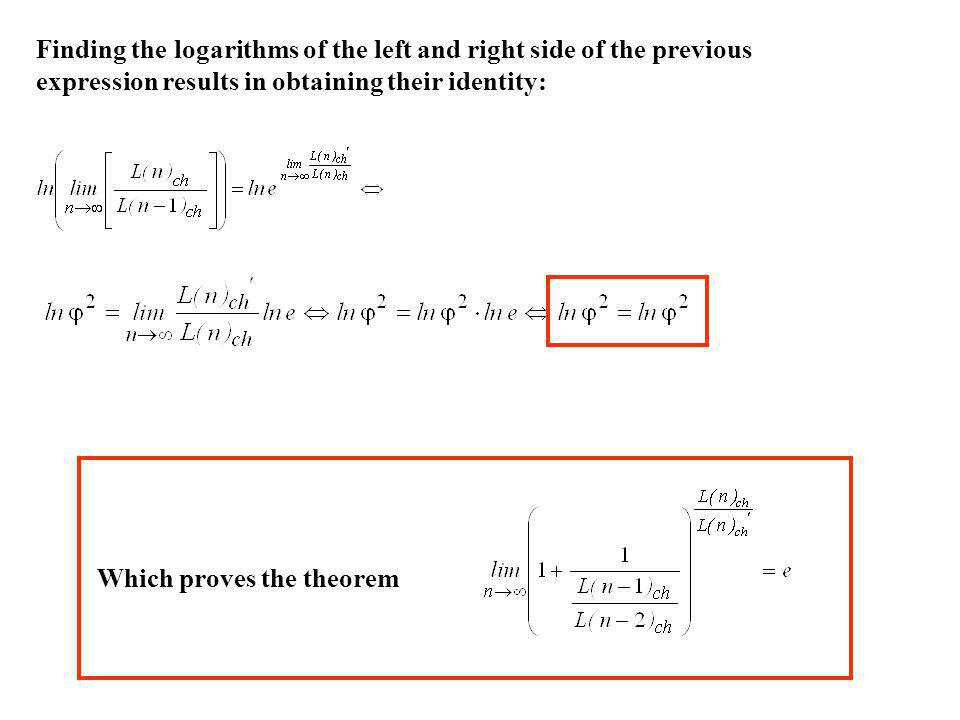 Finding the logarithms of the left and right side of the previous expression results in obtaining their identity: