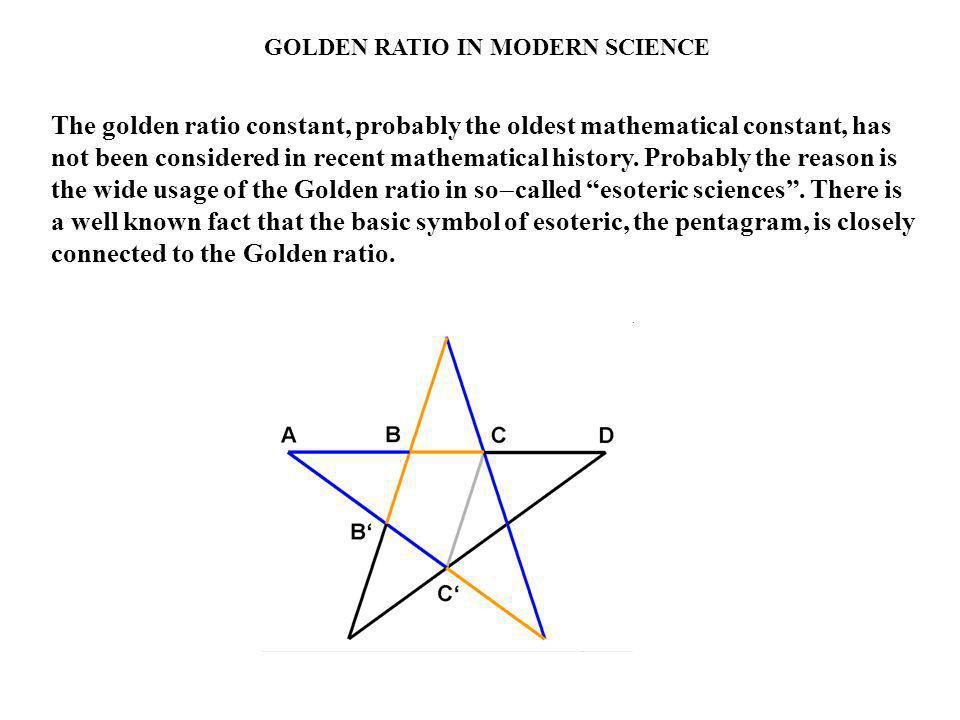 GOLDEN RATIO IN MODERN SCIENCE