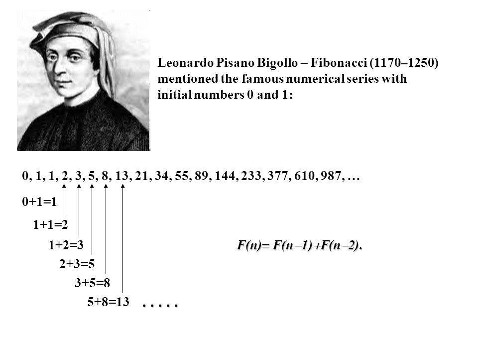 Leonardo Pisano Bigollo  Fibonacci (1170–1250) mentioned the famous numerical series with initial numbers 0 and 1: