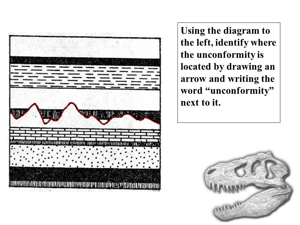 Using the diagram to the left, identify where the unconformity is located by drawing an arrow and writing the word unconformity next to it.