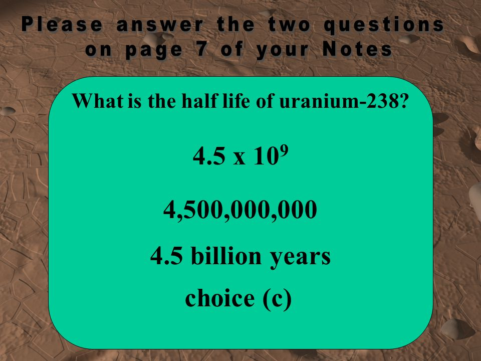 What is the half life of uranium-238
