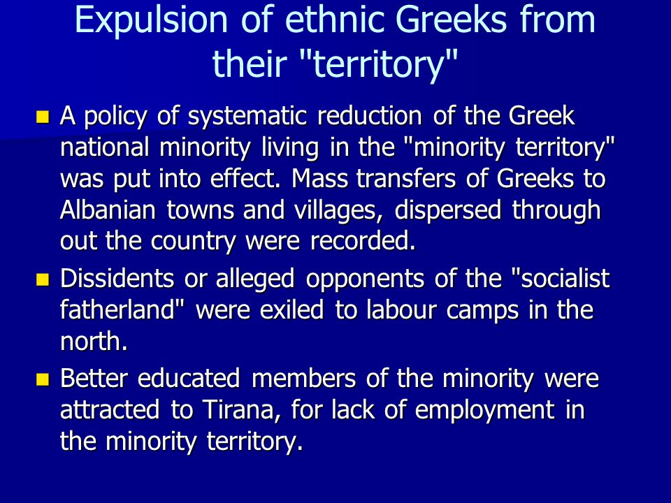Expulsion of ethnic Greeks from their territory