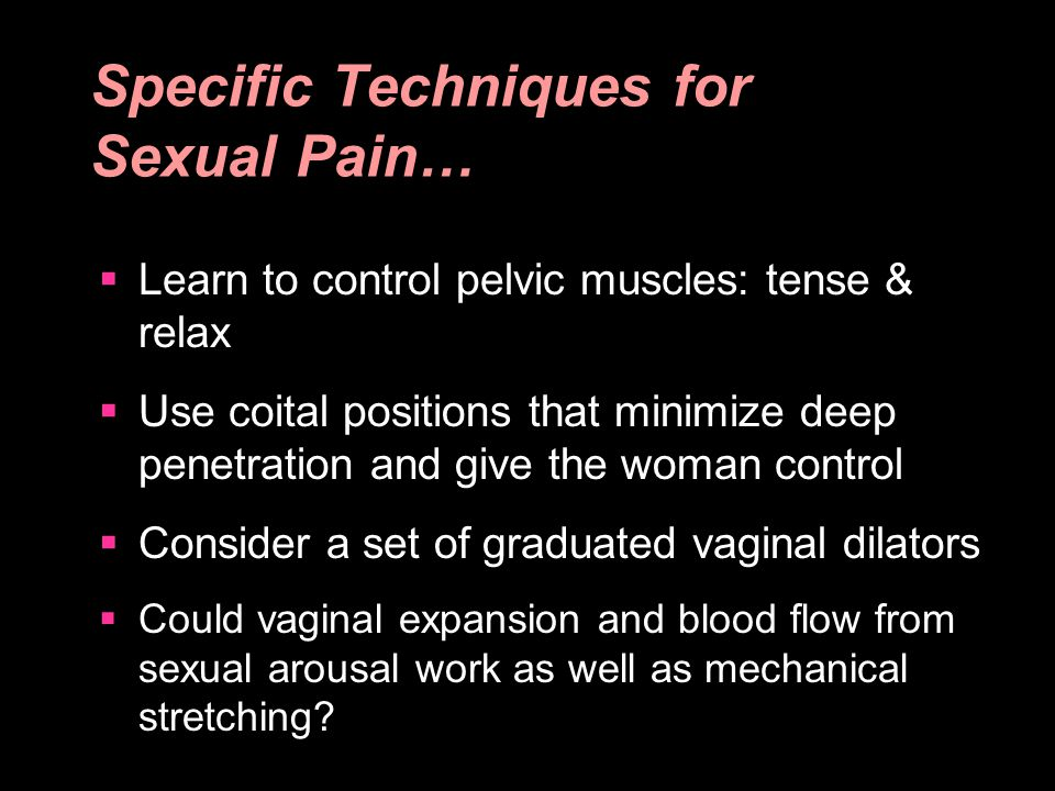 Specific Techniques for Sexual Pain…