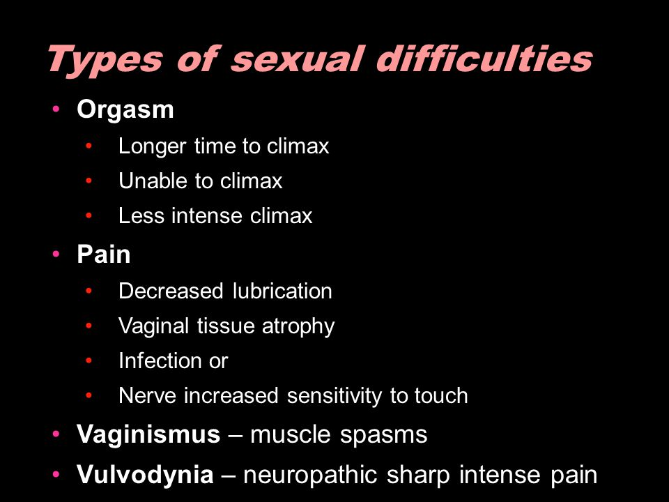 Types of sexual difficulties