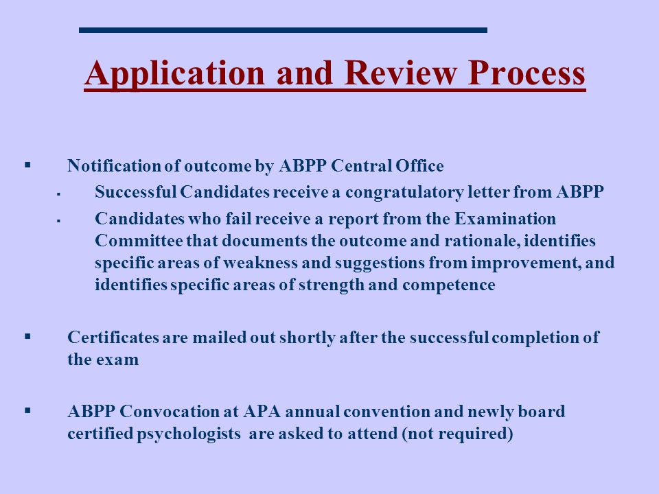 Application and Review Process