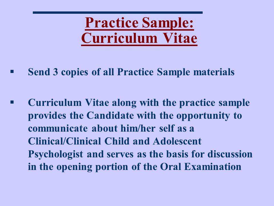 Practice Sample: Curriculum Vitae