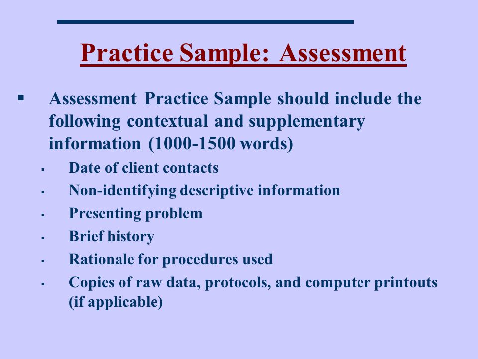 Practice Sample: Assessment