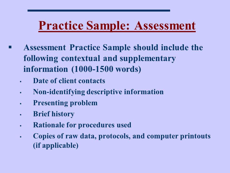 Practice Sample: Assessment