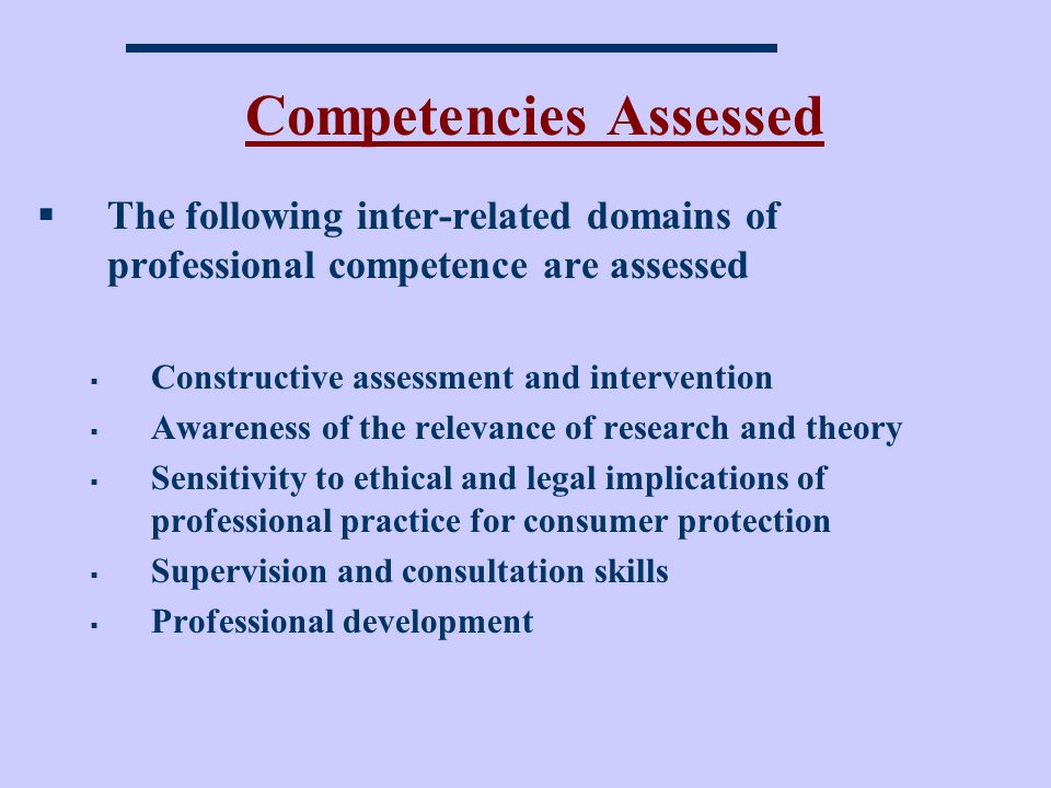 Competencies Assessed