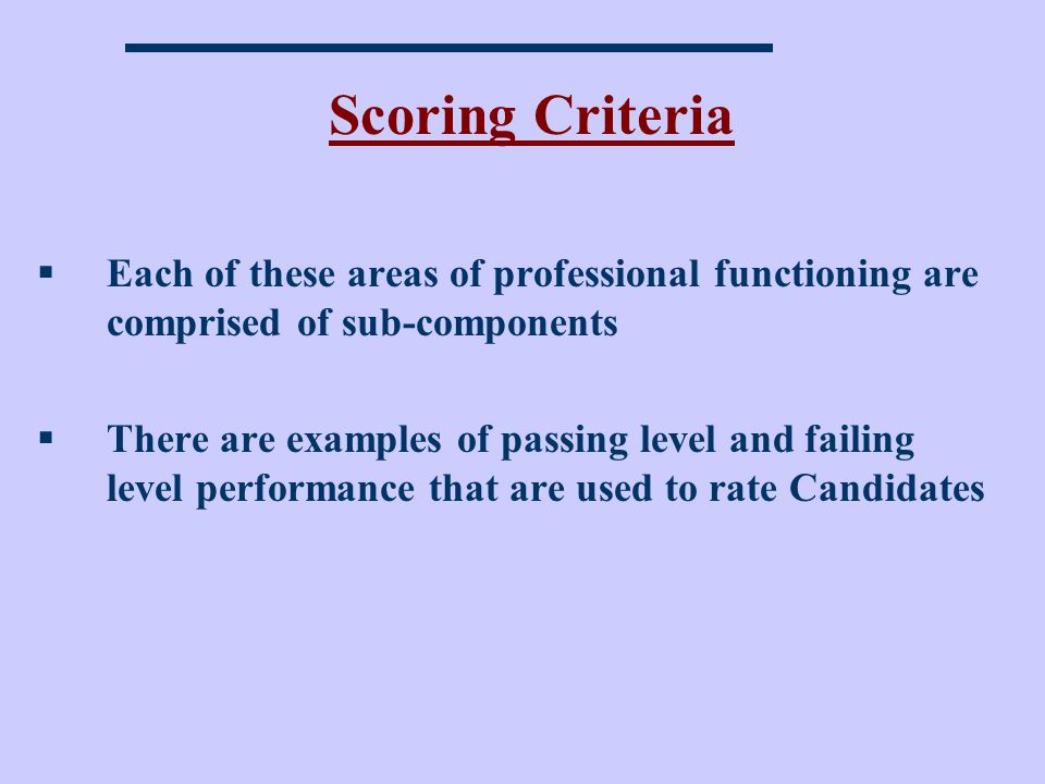 Scoring Criteria Each of these areas of professional functioning are comprised of sub-components.