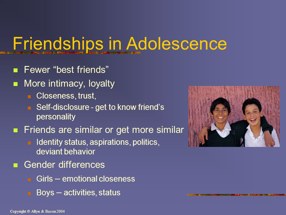 Friendships in Adolescence