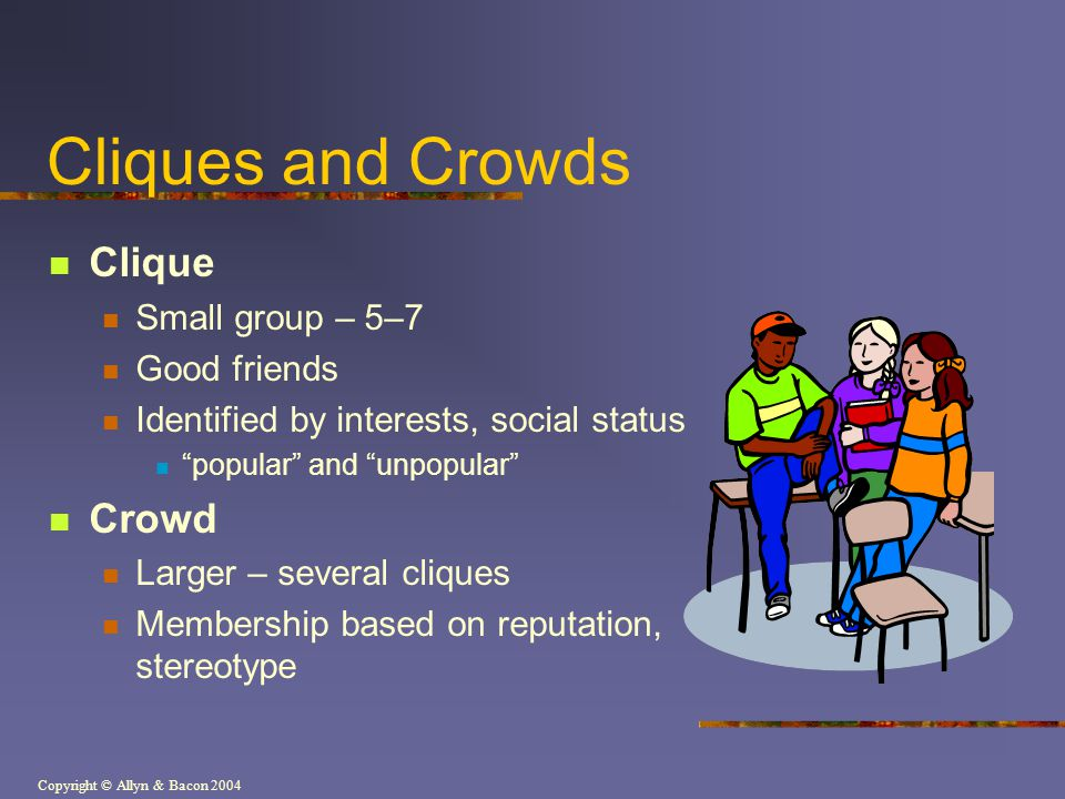 Cliques and Crowds Clique Crowd Small group – 5–7 Good friends