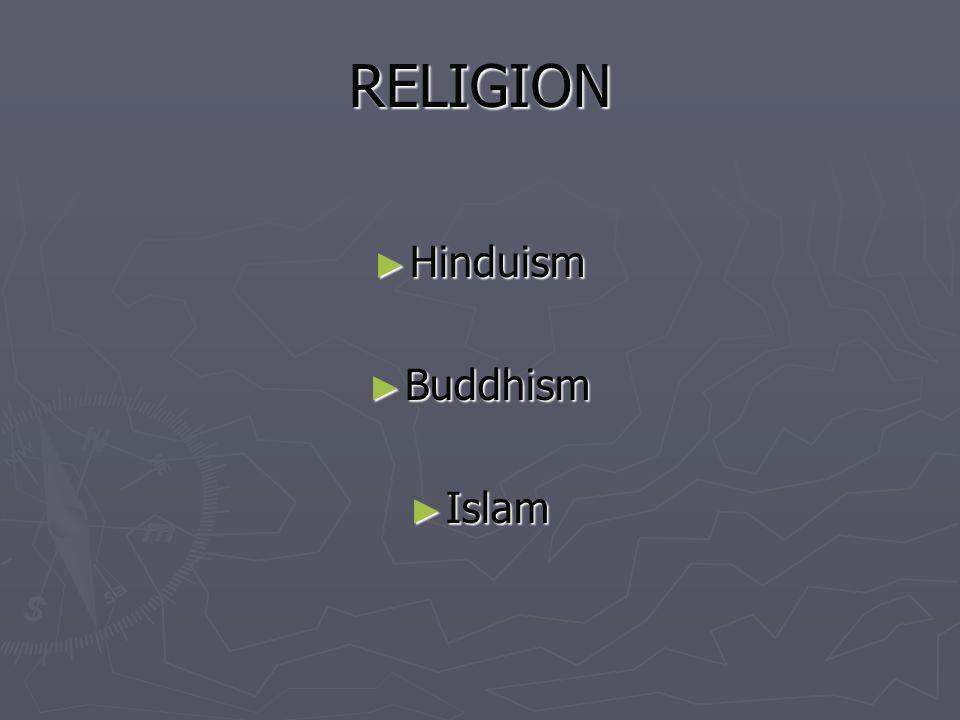 RELIGION Hinduism Buddhism Islam