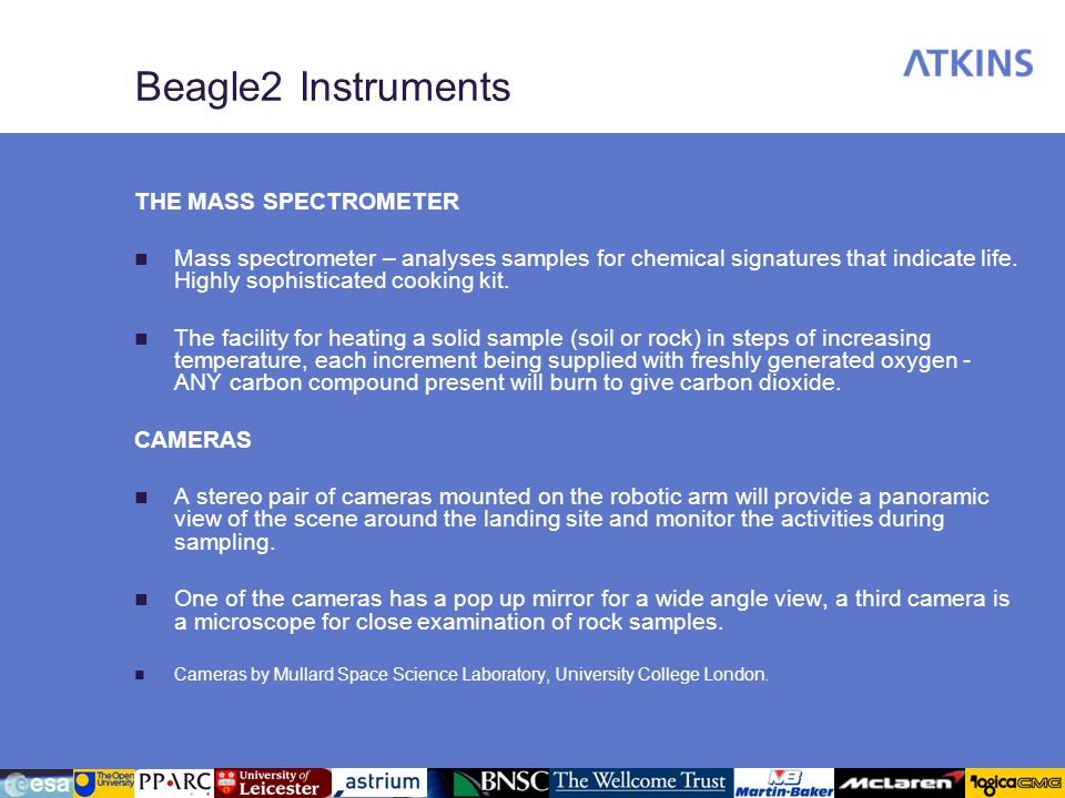 Beagle2 Instruments THE MASS SPECTROMETER