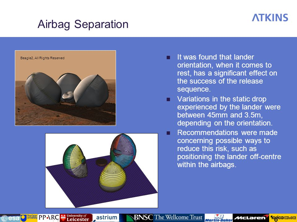 Airbag Separation It was found that lander orientation, when it comes to rest, has a significant effect on the success of the release sequence.