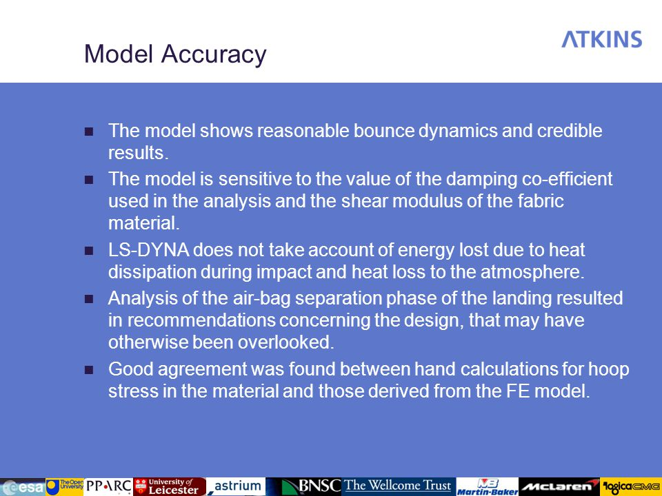 Model Accuracy The model shows reasonable bounce dynamics and credible results.
