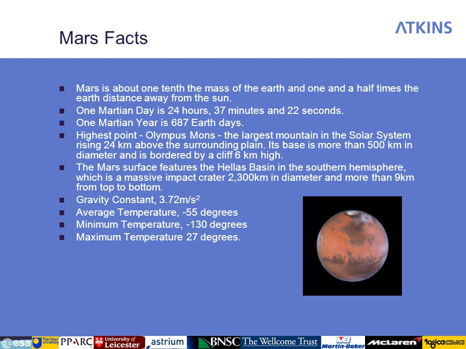 Mars Facts Mars is about one tenth the mass of the earth and one and a half times the earth distance away from the sun.