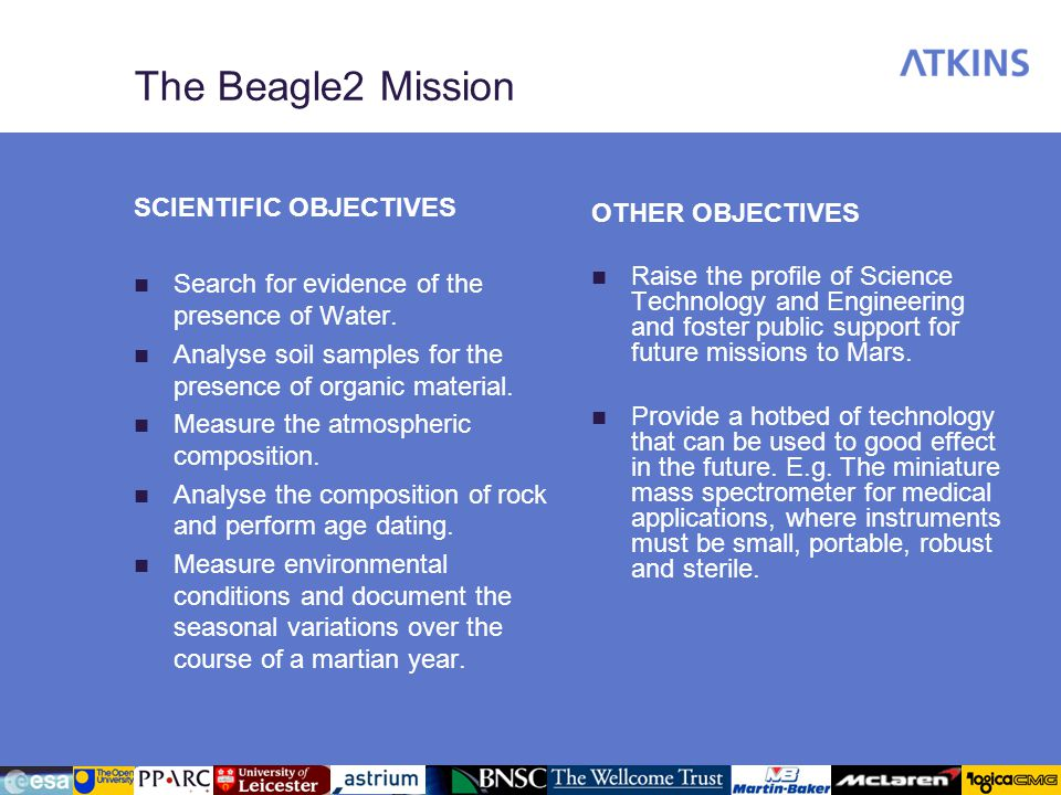 The Beagle2 Mission SCIENTIFIC OBJECTIVES OTHER OBJECTIVES